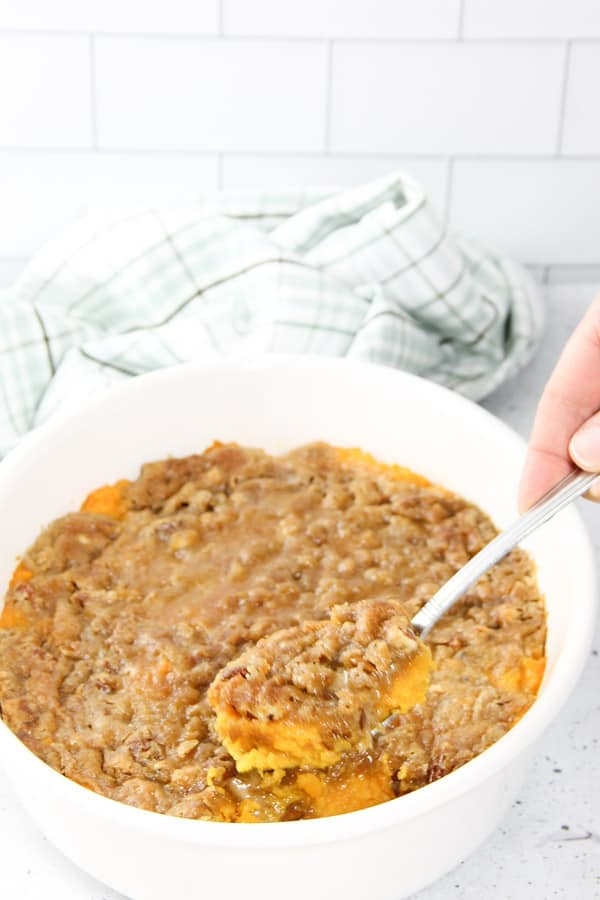 Easy Sweet Potato Casserole with spoon in dish