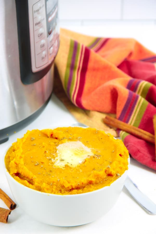 Instant Pot Mashed Sweet Potatoes with Cinnamon with instant pot and napkin