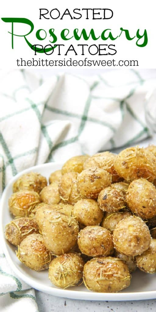 Roasted Rosemary Potatoes on white plate