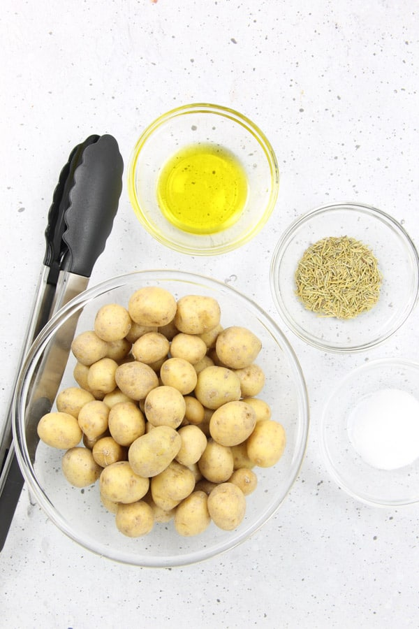 Roasted Rosemary Potatoes Ingredients in glass bowls