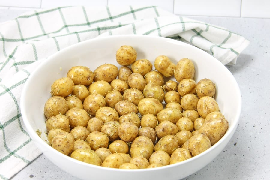 Roasted Rosemary Potatoes cooked in bowl
