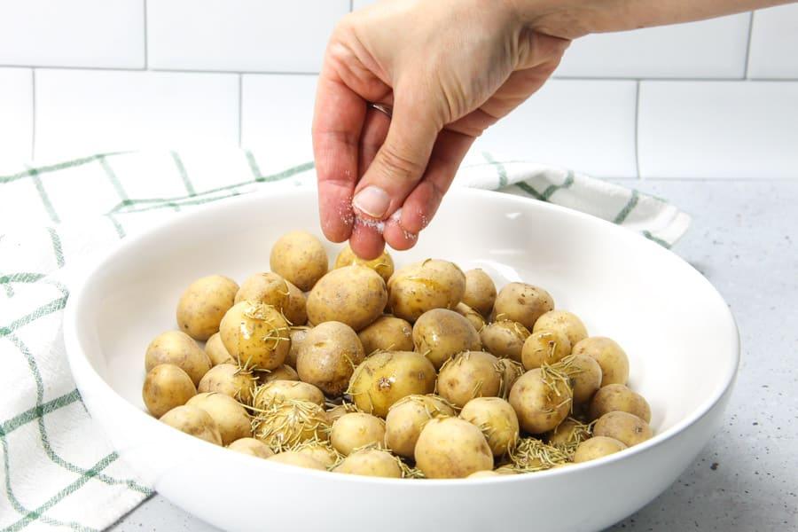 Roasted Rosemary Potatoes with salt
