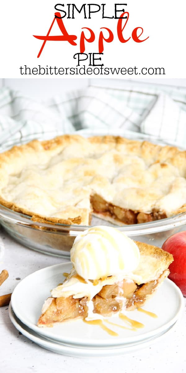 Simple Apple Pie with slice of pie on plate