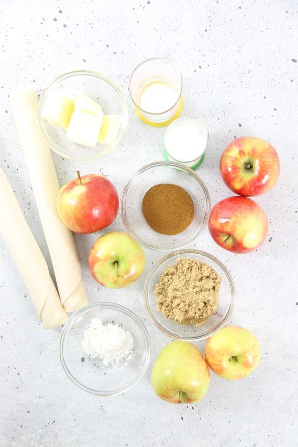 Simple Apple Pie Ingredients in bowls