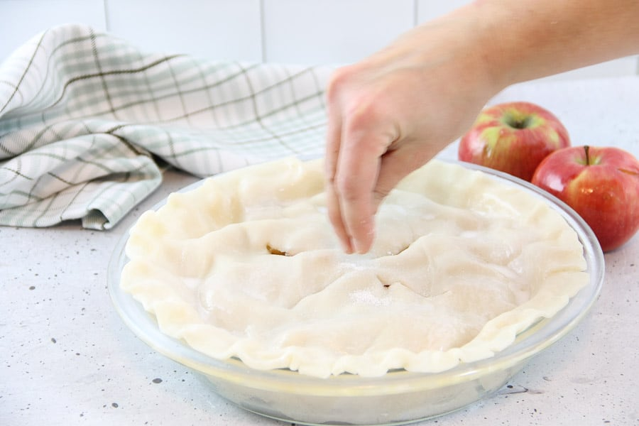 Simple Apple Pie with sugar on tip