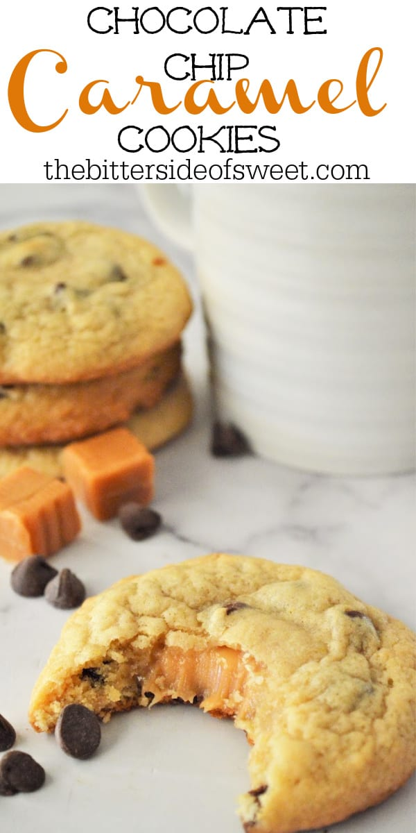 Chocolate Chip Caramel Cookies! on white background