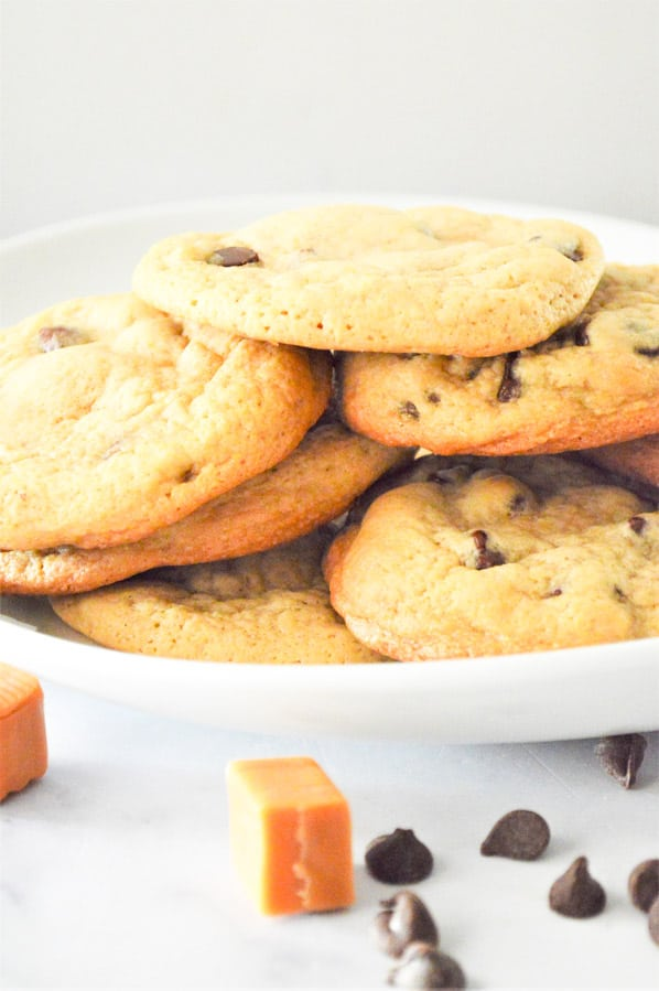 Chocolate Chip Caramel Cookies on plate