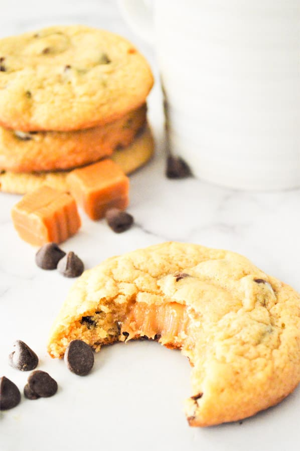 Chocolate Chip Caramel Cookies on white background