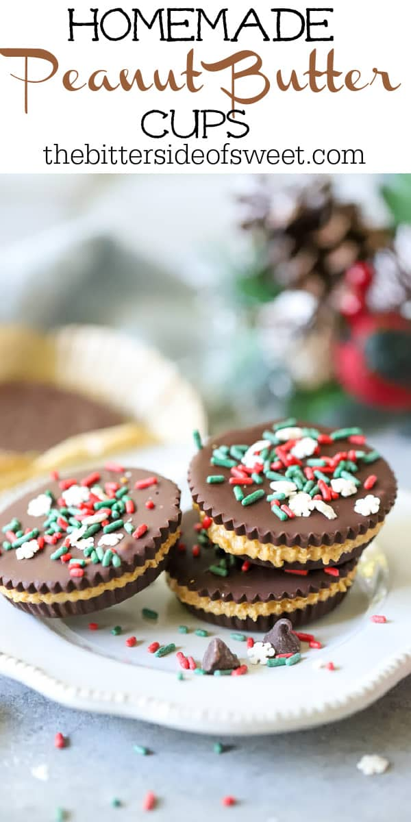 Homemade Peanut Butter Cups with green, red, and white sprinkles