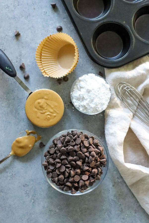 Homemade Peanut Butter Cups with ingredients
