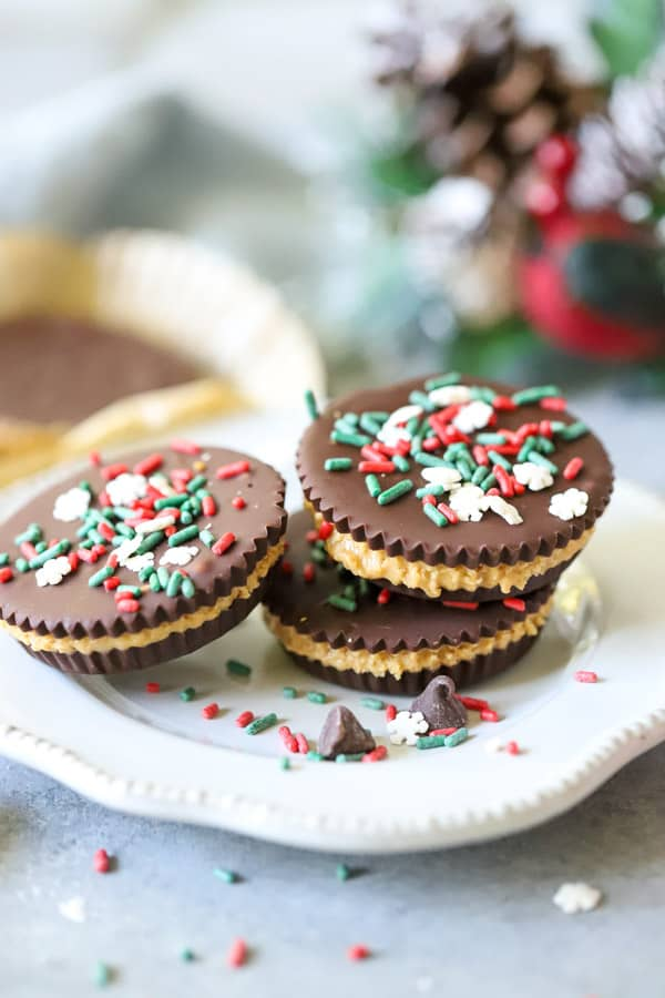 Homemade Peanut Butter Cups with sprinkles on white plate