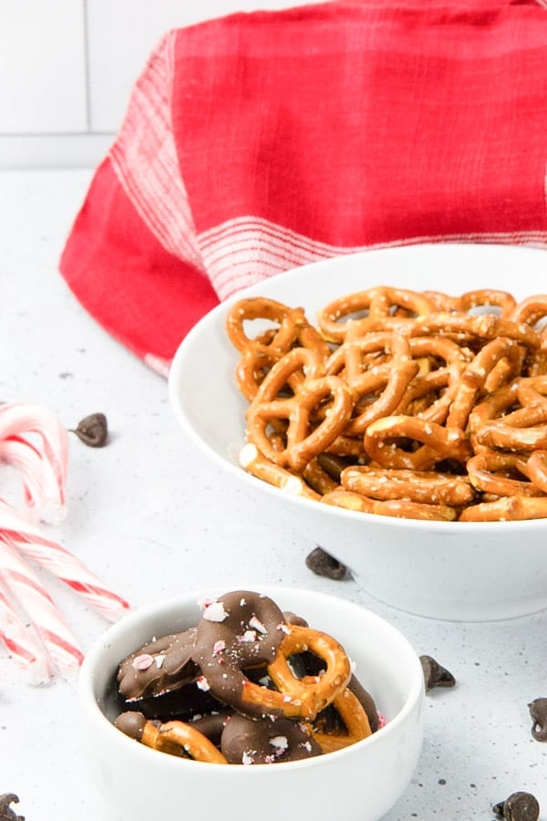 Peppermint Chocolate Dipped Pretzels in white bowl