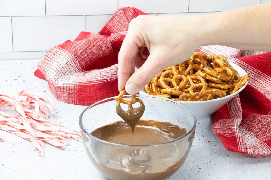 Pretzel dipped in chocolate