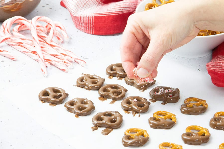 Pretzels sprinkled with candy cane