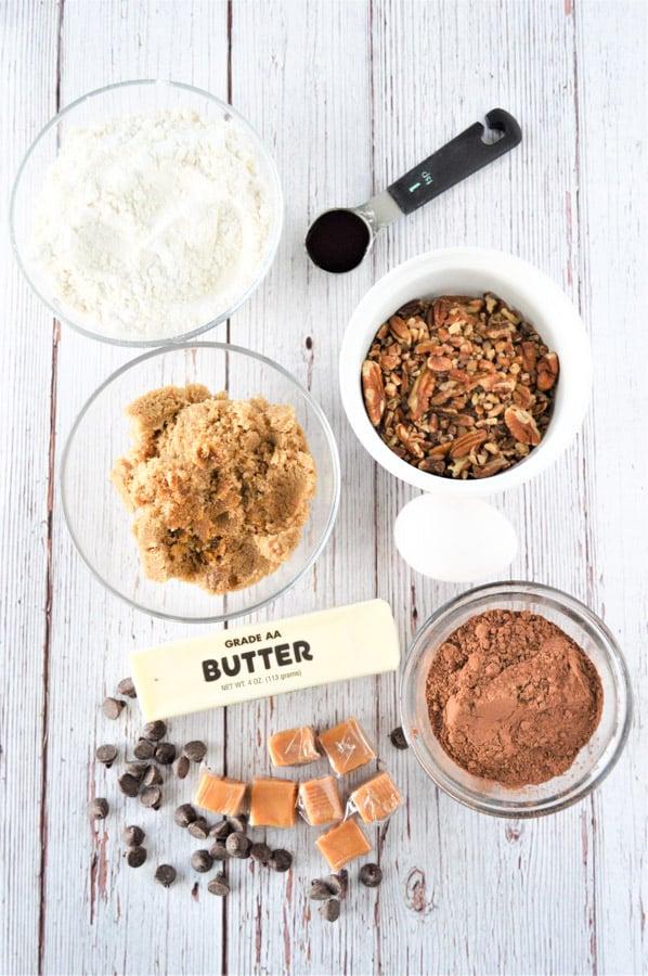 Chocolate Turtle Cookies ingredients in bowls