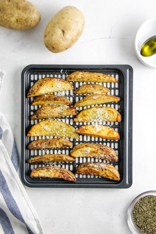 potato wedges on crisper tray.