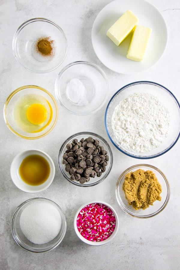 Dark Chocolate Cookie Cake ingredients in bowls