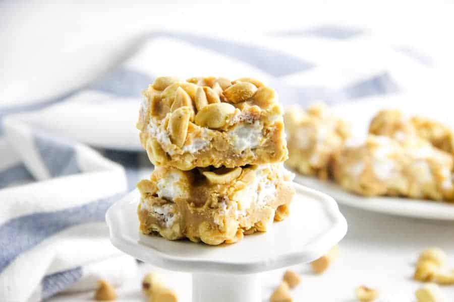 close up of salted nut roll bars on stand
