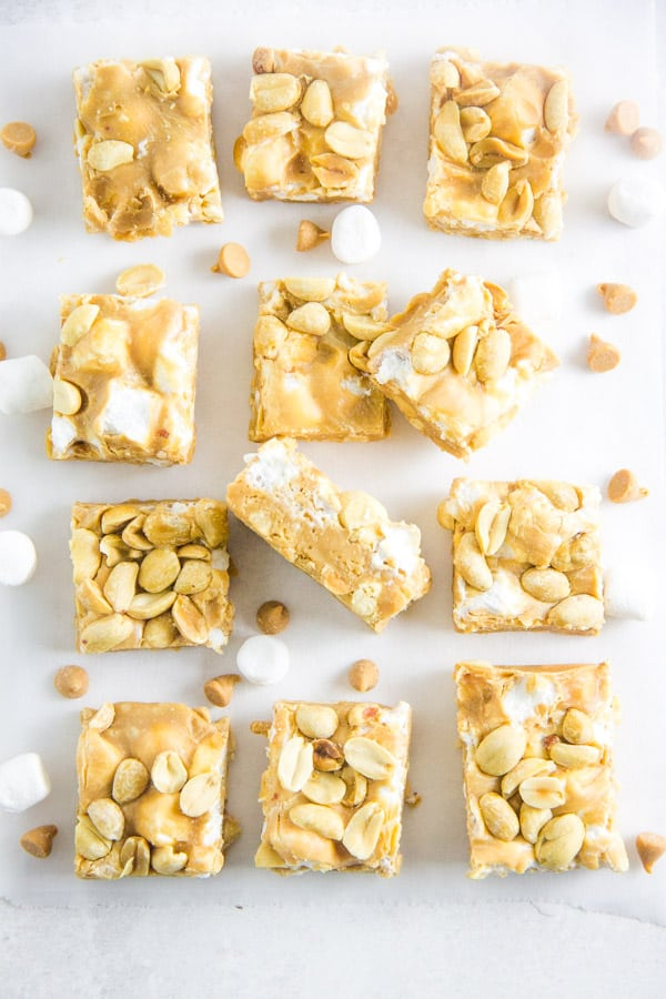 Salted Nut Roll Bars on parchment paper