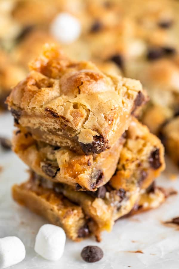 S'mores Blondies on white background stacked.