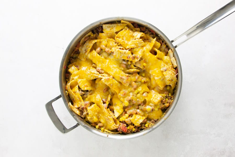 taco skillet with melted cheese.