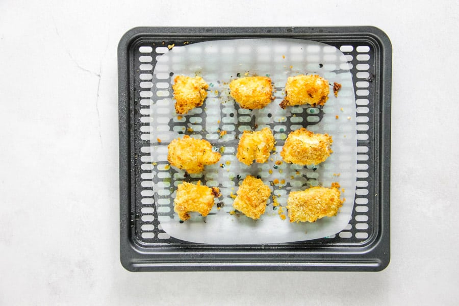 cooked nuggets on crisper tray.