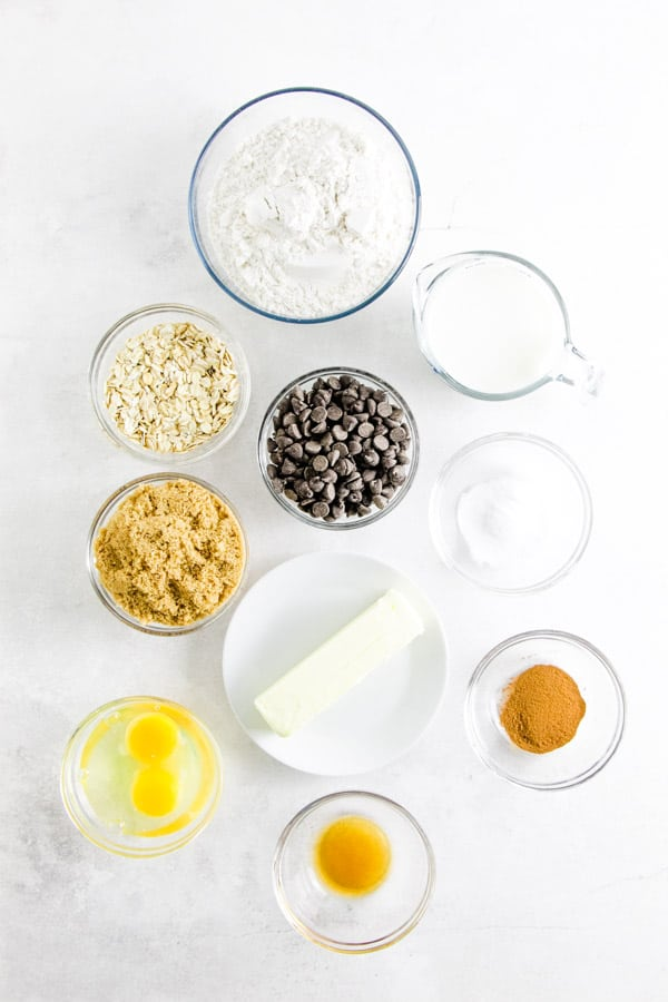 Ingredients in bowls for Chocolate Chip Oatmeal Muffins.