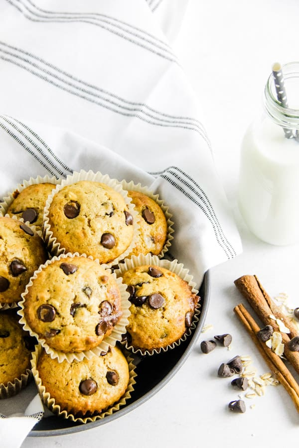 muffins stacked in gray bowl with glass of milk.