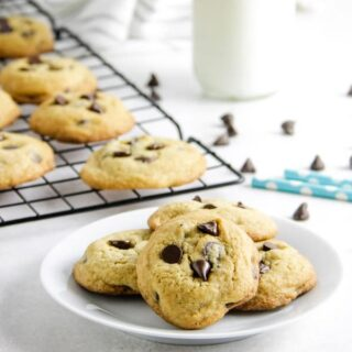 cookies on plate with chocolate chips in background.