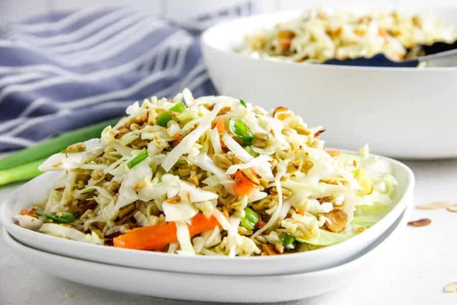 Easy Ramen Salad on white plate.
