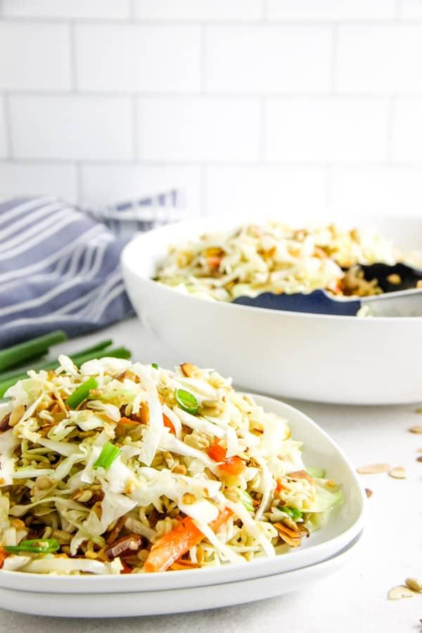 Easy Ramen Salad on plate.