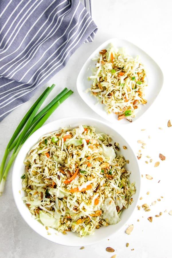 Easy Ramen Salad overhead view in bowl.