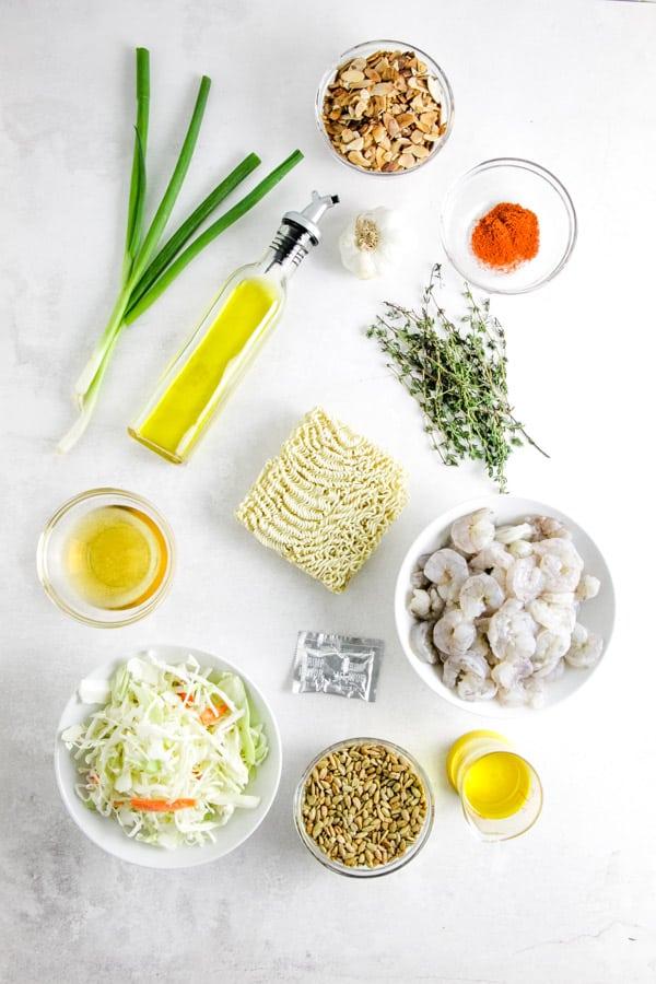 ingredients for Shrimp Ramen Salad.
