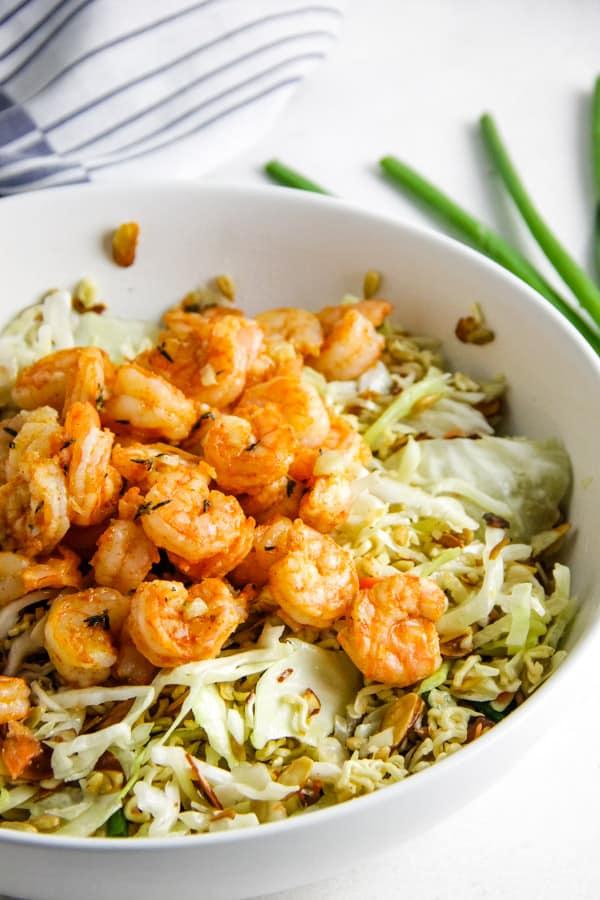 Shrimp Ramen Salad in white bowl.