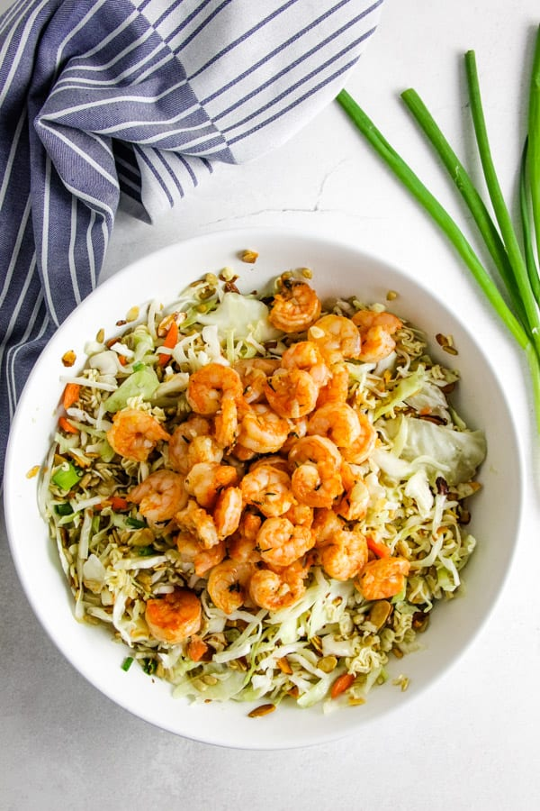 salad and shrimp in bowl.