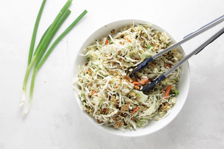 salad mixed in bowl.