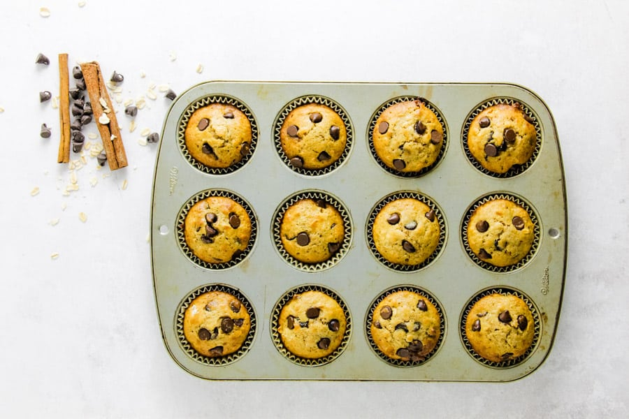 muffins baked in pan.