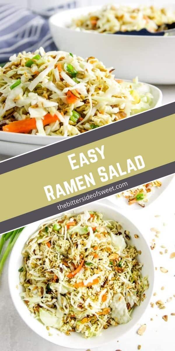 Easy Ramen Salad in white bowls.