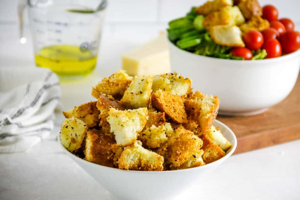 croutons in white bowl.