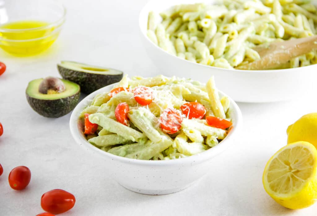 Avocado Pasta in bowl topped with cheese