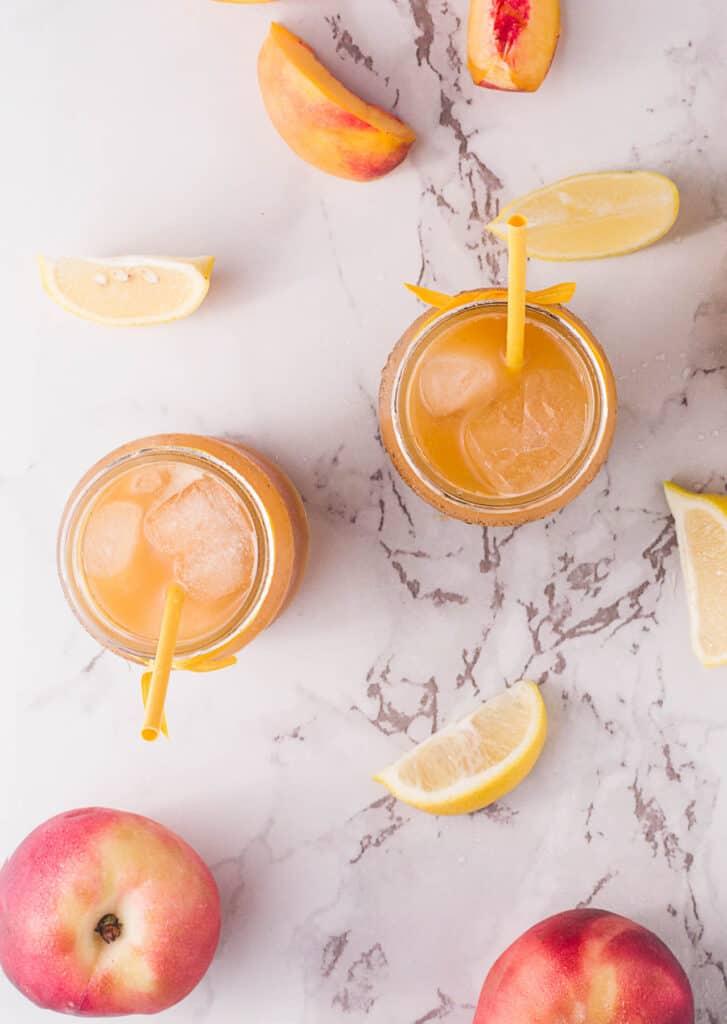 Peach Black Tea Lemonade overhead view.