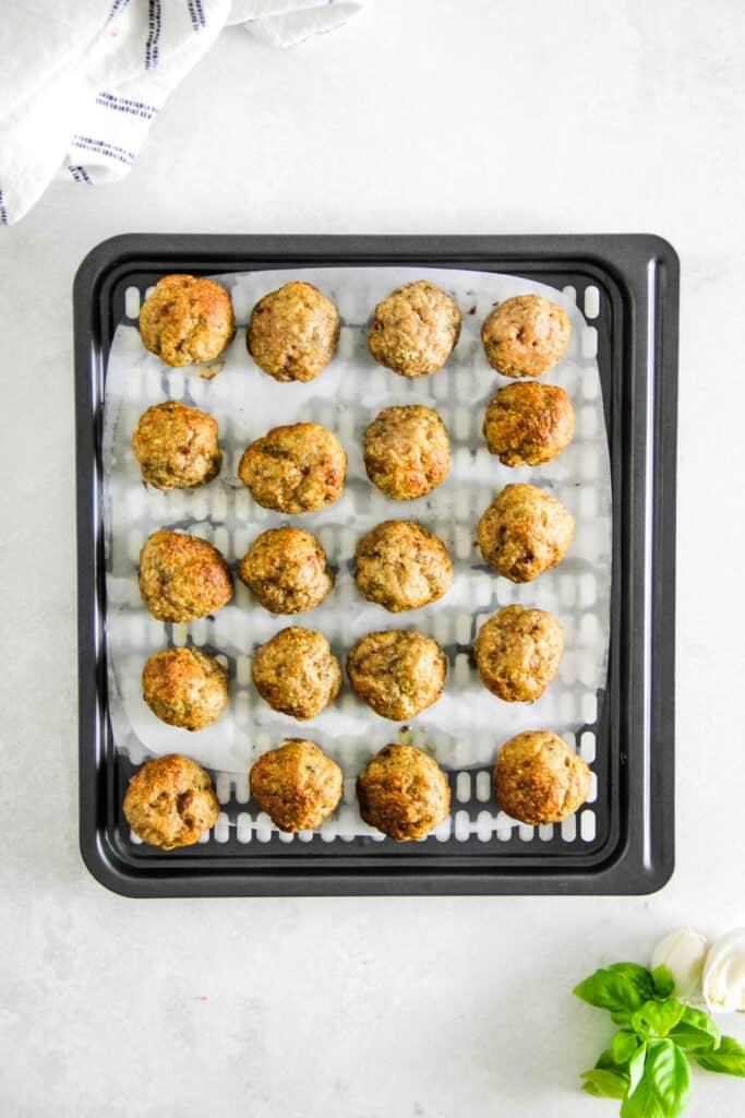 Air Fryer Turkey Meatballs on tray.
