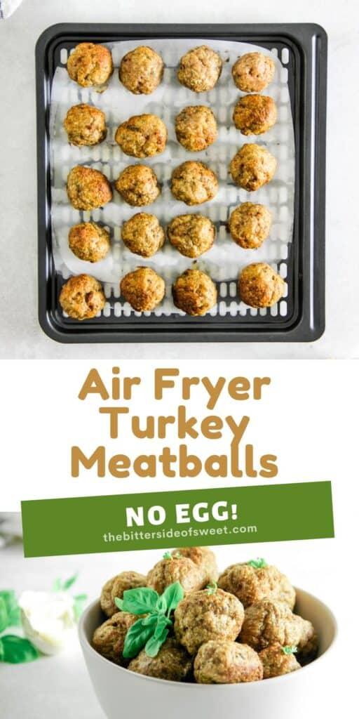 Air Fryer Turkey Meatballs collage.