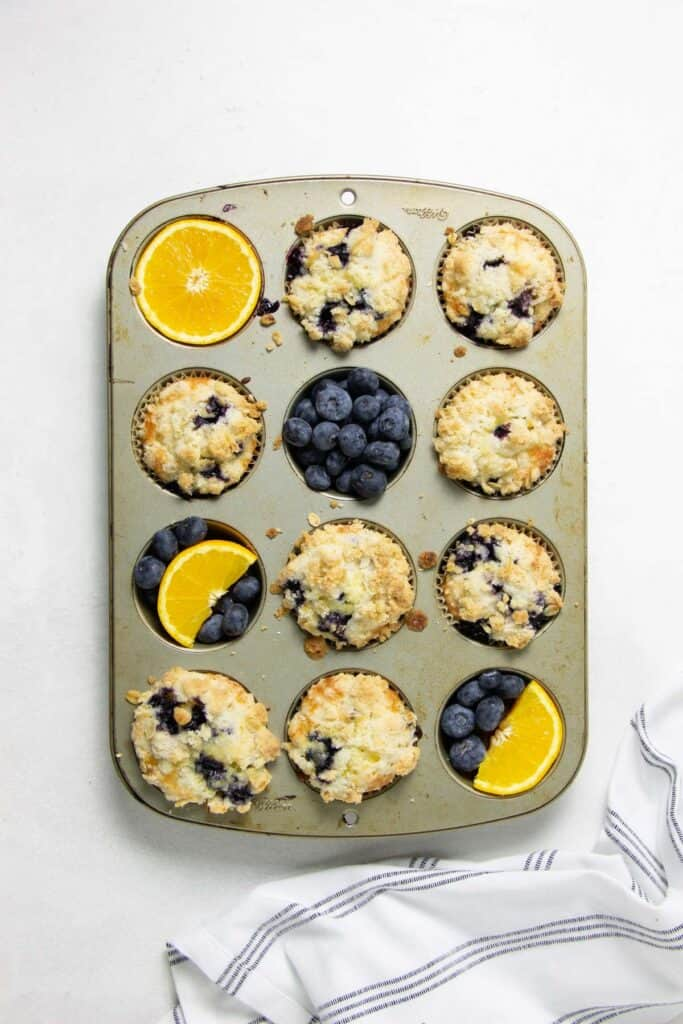 Muffins baked in muffin pan.