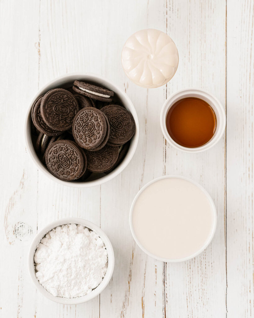 Cookies and Cream Mousse ingredients in bowls.
